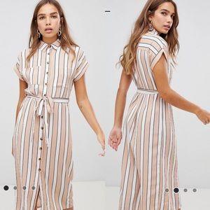 Midi Shirt Dress in Tan/White Stripe